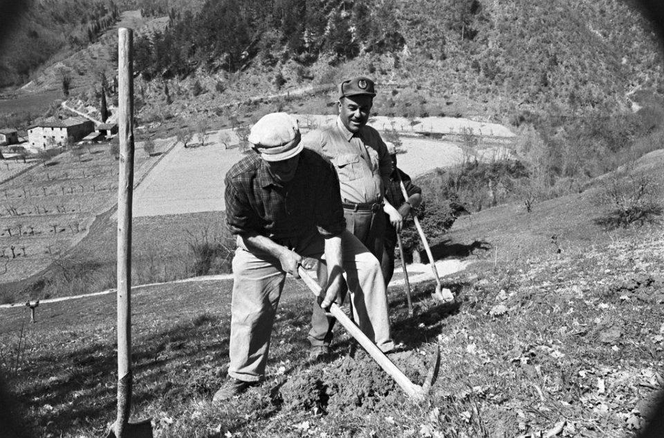 Uomini a lavoro nel Bosco degli Svizzeri